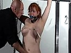 Swedish debutant slave girl Vickis ballgagged whipping and tit tortures of redhe