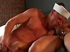 Muscle guy gives blowjob