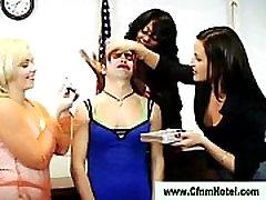 Cfnm femdoms sissify victim