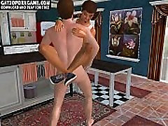 In the kitchen two hot twinks fuck in 3D