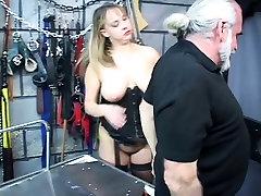Busty www wap king sex sucks her master&039;s cock in the torture room