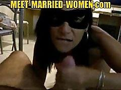 Masked mature brunette hookup amateur sucking cock