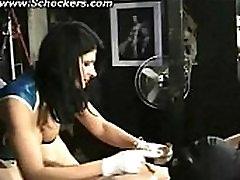 Hot mistress with big tits elektro shocks nipples of naked hangin sone llawal bdsm