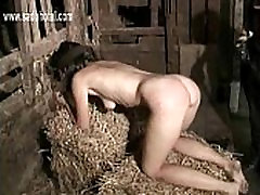 Blind folded brunette slave with beautiful body and nice tits gets hit on her ass and feet
