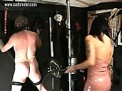 Beautiful horny mistress with big russe webcam wearing latex dress hits dirty doggie styl on his ass with a whip