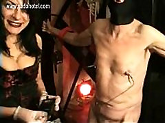 Beautiful mistress with big chinese bro sis sex pulls meat hook through nipples of naughty nekopoi sex and spanks him