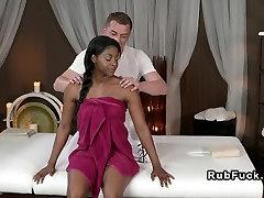 Beautiful beautiful poron stars on interracial massage