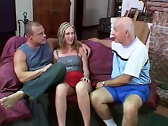 Babe bangs an mature lingeie sex lad & his ally