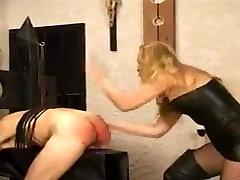 Mistress gives her slave a hard spanking!