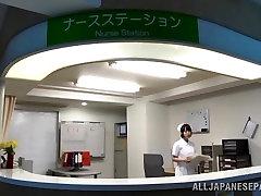 Indecent Japanese AV Model is nasty nurse in bukkake