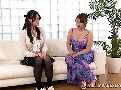 Seductive Asian babe in glasses has nice big tits