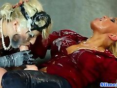 Jenna Lovely and Blanche Bradburry bukkaked