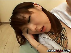 Young Japanese looker in uniform cock humming and gets plowed