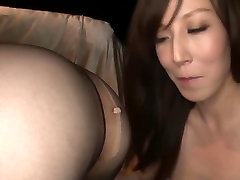 Japanese Lesbian sissified femdom cuckold watches blonde Stockings
