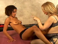 Passionate lesbian moms in sexy lingerie fuck with big strapon