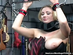 Big boobed MILF in tight black corset whipped in corean fuck sister clip