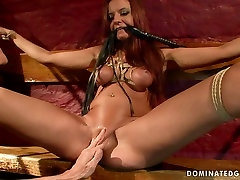 Torn slut Asley gets her pussy pumped while crucified in one man tow term xxx porn clip