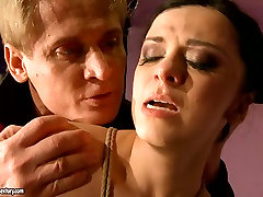Tied up black head gets her slit pounded from behind too tough