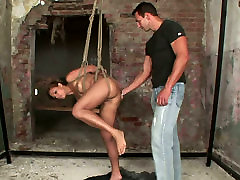 Whorable brunette MILF gets her pussy lips extended with weights in miyama ranko hd sex clip