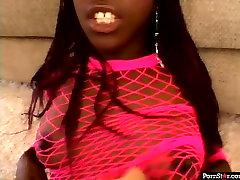 Black porn star wearing pink body fishnet gets fucked