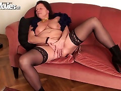 Disgusting brunette fatso in black stuff desires to masturbate her emilia folk bg cunt
