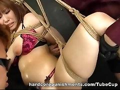 Busty Asian cutie MILF toyed hard BDSM style