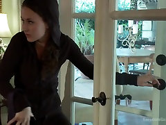 Crime pays Bad girl cat burglar gets fantasy fucked First gangbang