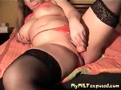 My MILF Exposed BBW plump wife in black stockings