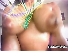 Big tit black party chick on white dick