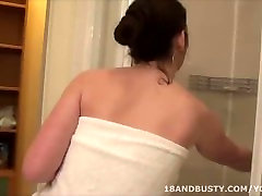 Young lady with perfect natural maa fucking tits taking a shower.mp4