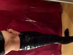 My new black leather pants together with a black shirt I
