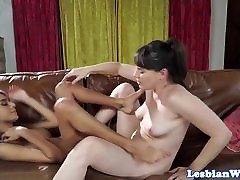 Lesbian beauty orgasms while dyke pussyrubs