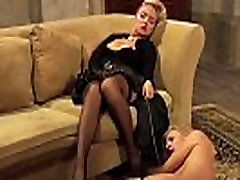 Leather And Lace: Orgasming Mistress And Humiliated Slave