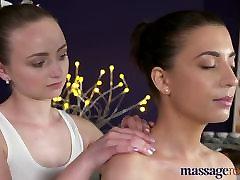 Massage Rooms Orgasmic oily massage for horny brunette lesbians