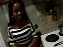 Black girl rides weenie on closeup