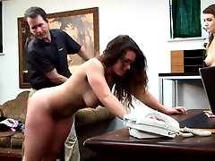 Four eyed college girl gets spanked