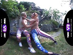 TmwVRnet.com - Katy Sky & Candy Red- Yoga lesbians orgasm outdoors