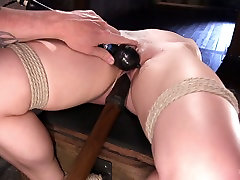 Tied up babe Dahlia Sky is punished and fucked in the dark belajar ngetot room