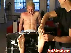 A blonde twink dude tied up and tickled all over his body