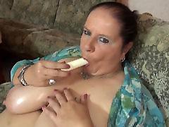 Mature BBW mom massaging her big docketa sky and vagina