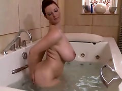 solo in the bathroom of a mature woman with lana re natural tits