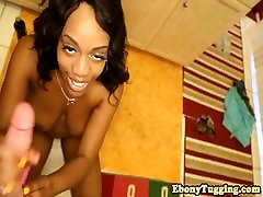 Black wives window3 babe jerks pov cock before facial