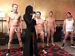 Ebony hottie Kira Noir is fucked hard by three sex hungry white dudes