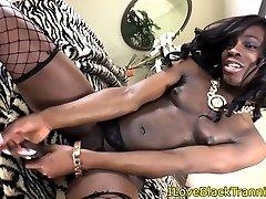 Ebony tgirl stroking her big hard cock solo