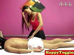 Asian masseuse facesits during handjob trio