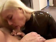 Blonde Slut Fucked In Brown Transparent viollete pure Catsuit Pussy