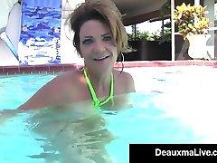 Hot Wet Milf Deauxma Swims Nude & Rubs Tits In PornStar Pool