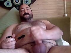 Cigar Smoking Daddy Bear Jerking Off & Cumming