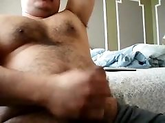 Chubby daddy bear jacking his uncut cock