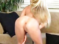Really sexy slut Kylie twisty big tit toys her sweet pink pussy on the couch